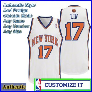 New York Knicks Authentic Style Home Jersey White 17 Jeremy Lin Small to 2X