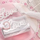 """Words of Love"" Silver-Finish Bookmark with Elegant White-Silk Tassel"