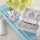 Fleur-de-Lis Metal Bookmark with Elegant White-Silk Tassel