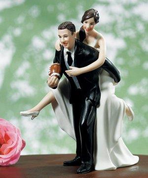 Playful Football Couple Figurine
