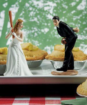 Groom Pitching with Bride Ready To Hit A Home Run - Sold Separately