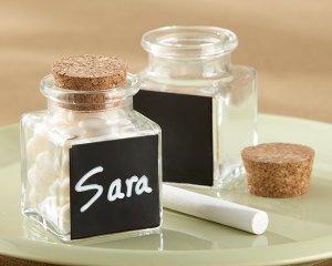 """""""Chalkboard"""" Glass and Cork Favor Jars (Set of 12)"""