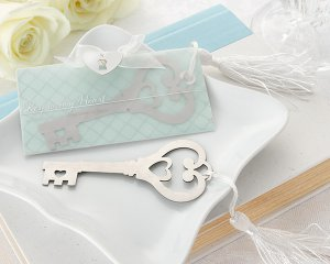 "Key to My Heart"" Heart-Shaped Key Bookmark with White-Silk Tassel"