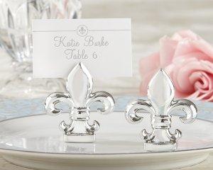 """""""Fleur de Lis"""" Silver-Finish Place Card/Photo Holder (Set of 4)"""