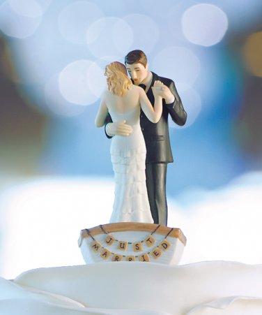 �Row Away� Wedding Couple in Rowboat Figurine