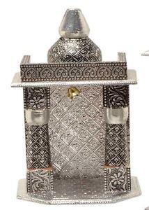 "Silver Mini Indian Home Pooja Mandir  - 6"" X 5"" X 10"" (Small),Pooja Ghar"