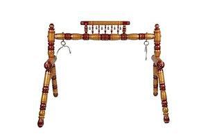 Indian Ghodiyu/Jhoola Handmade Gold & Red Wooden Baby Cradle Swing with Hammock