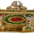 """Gold Meenakari Mini Indian Home Pooja Mandir  - 6"""" X 5"""" X 10"""" (Small) ,Puja Ghar"""