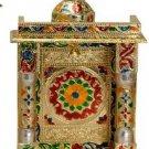 "Gold Meenakari Mini Indian Home Pooja Mandir  - 8"" X 5"" X 13"" (Medium),Puja Ghar"