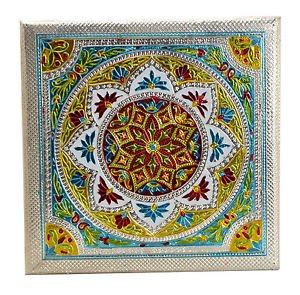 "Meenakari Puja Bajot/ Chaurang/ Chowki (Hindu Pooja) - Mandala 12"" X 12"" X 5"""