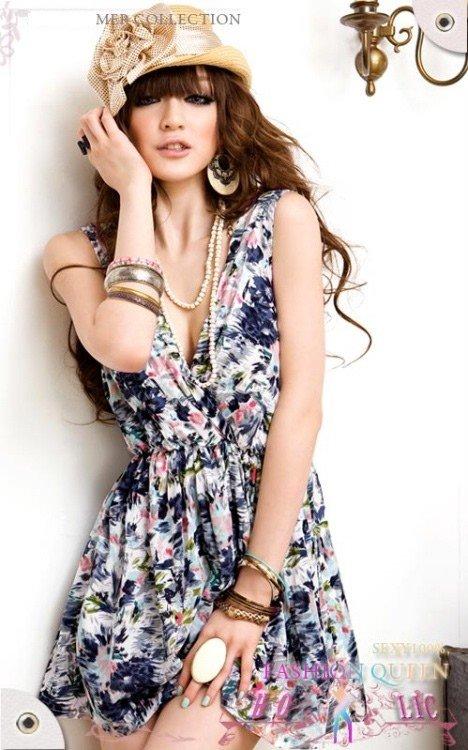V Neck Low Cut Cotton Floral Mini Dress Blue
