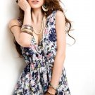 V Neck Low Cut Cotton Floral Mini Dress Blue
