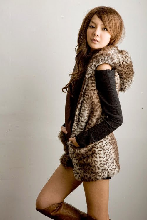 Leopard Faux Fur Sleeveless Hood Jacket