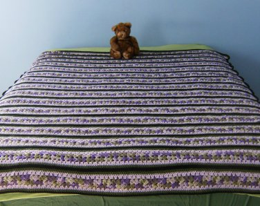 Wisteria Themed Mile-a-Minute hand made afghan
