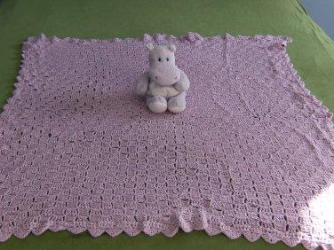 Purple Shimmer Diagonal Stitch Baby Afghan