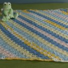 Pastel Colored Diagonal Stitch Baby Afghan