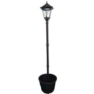 Gamasonic GS-99PL Black Windsor 87-Inch Solar Lamp 18-Inch Planter White LED's FREE SHIPPING