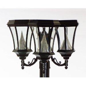 Gamasonic GS-94F3 Victorian Solar 3 lamps, White LED's, Black Finish FREE SHIPPING