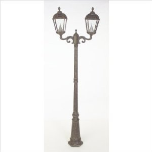 Royal Solar Lamp Post 7 Foot with 2 Heads in Weathered Bronze ? Gama Sonic GS-98D