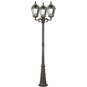 Gama Sonic Royal GS-98T Alum 15LT Solar Photocell Outdoor Tripe Post Light in Weathered Bronze