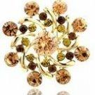 Peach/Topaz/Oliver Rhinestone Round Windmill Flower Brooch