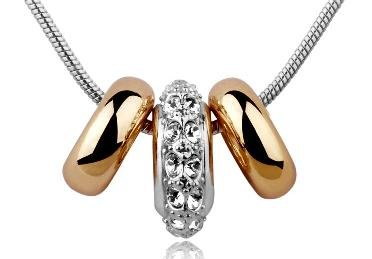 Swarovski Crystal Rose Gold and Crystal Rings Pendant Necklace