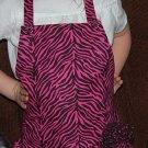 Child's pink/black zebra hostess apron