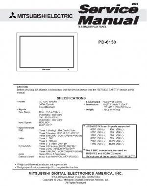 MITSUBISHI PD-6150 PLASMA TV SERVICE REPAIR MANUAL