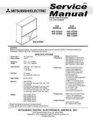 mitsubishi ws 55859 ws 65869 ws 55909 ws 65909 ws 73909 tv service rh cheapservicemanuals ecrater com mitsubishi ws-65611 service manual Mitsubishi Io