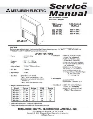 mitsubishi ws 48313 ws 55313 ws 65313 ws 48413 ws 55413 ws 65413 tv rh cheapservicemanuals ecrater com Mitsubishi TV Parts Catalog Mitsubishi TV Troubleshooting