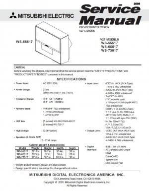 MITSUBISHI WS-55517 WS-65517 WS-73517 TV SERVICE REPAIR MANUAL