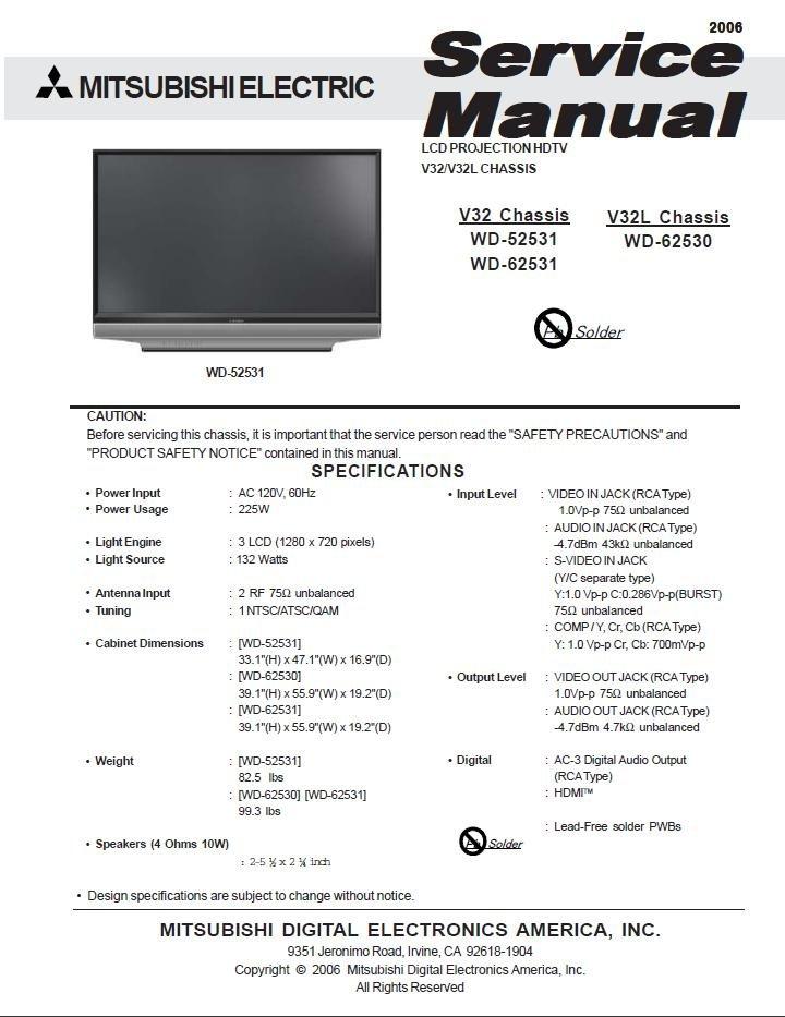 MITSUBISHI WD-52531 WD-62531 WD-62530 TV SERVICE REPAIR MANUAL