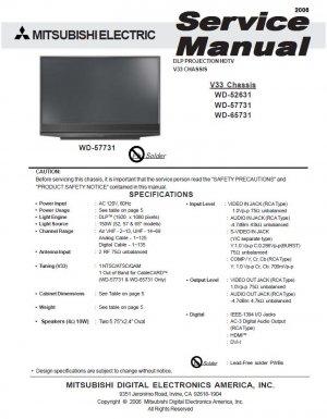 Mitsubishi wd-57731 service manual download