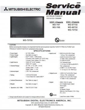 MITSUBISHI WD-Y57 WD-Y65 WD-57732 WD-65732 WD-73732 TV SERVICE REPAIR MANUAL