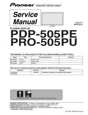 PIONEER PDP-505PE PRO-505PU TV SERVICE REPAIR MANUAL
