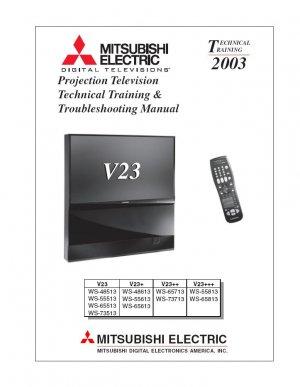 MITSUBISHI WS-48513 WS-55613 WS-65813 WS-73513 V23 TV TECHNICAL TRAINING TROUBLESHOOTING MANUAL