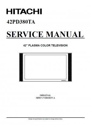HITACHI 42PD380TA PLASMA TV SERVICE REPAIR MANUAL