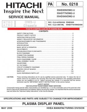hitachi 55hdx99 55hdt79 55hds69 tv service repair manual rh cheapservicemanuals ecrater com Hitachi Excavators Hitachi TV Manuals