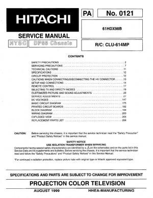 HITACHI 61HDX98B PROJECTION TV SERVICE REPAIR MANUAL