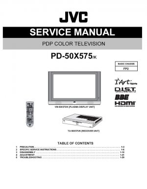 JVC PLASMA PD-50X575 PD-50X575/k TV SERVICE REPAIR MANUAL