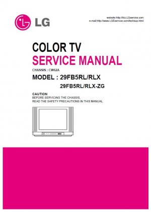 LG 29FB5RL 29FB5RLX 29FB5RLX-ZG TV SERVICE REPAIR MANUAL