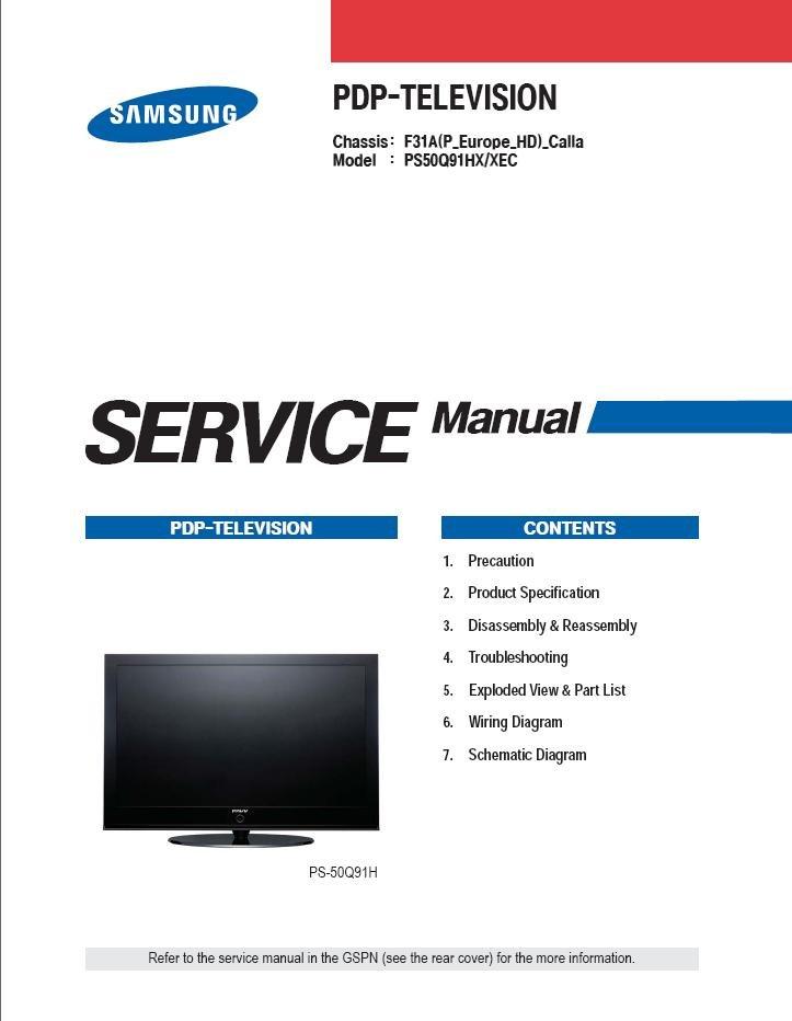 Samsung Ps50q91h Ps50q91hx  Xec Tv Service Repair Manual