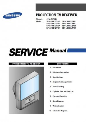 SAMSUNG SP43J8HFX/SAP SP54J8HFX/SED SP54J8HFX/XHK SP54J8HFX/BWT SP54J8HFX/NWT SERVICE REPAIR MANUAL