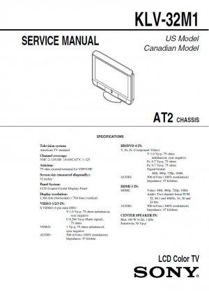 SONY KLV-32M1 KLV32M1 LCD TV SERVICE REPAIR MANUAL