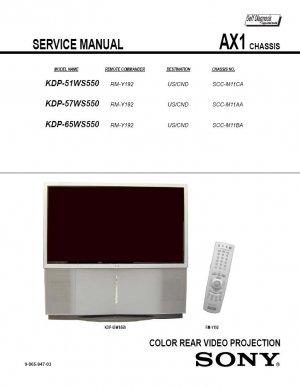 SONY KDP-51WS550 KDP-57WS550 KDP-65WS550 TV SERVICE REPAIR MANUAL