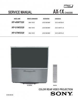 SONY KP-46WT520 KP-51WS520 KP-57WS520 TV SERVICE REPAIR MANUAL
