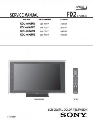 SONY KDL-40XBR4 KDL-40XBR5 KDL-46XBR4 KDL-46XBR5 TV SERVICE REPAIR MANUAL