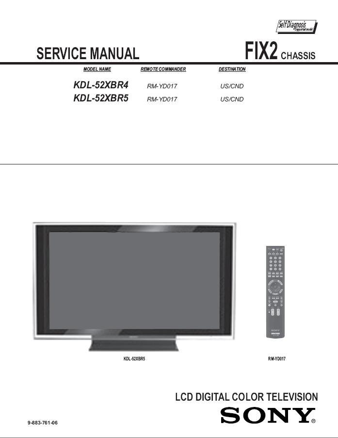 sony kdl 52xbr4 kdl 52xbr5 tv service repair manual rh ecrater com JVC KD AVX77 Manual JVC KD AVX77 Manual