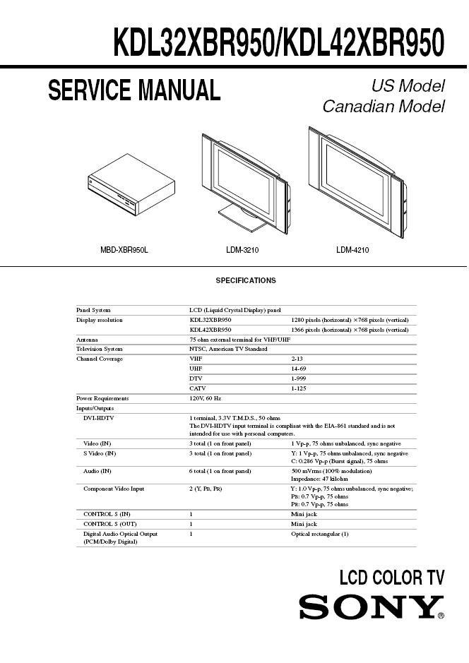 Sony Kdl32xbr950 Kdl42xbr950 Lcd Tv Service Repair Manual