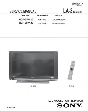 SONY KDF-E55A20 KDF-E60A20 TV SERVICE REPAIR MANUAL